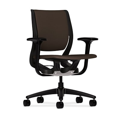 HON® Purpose® Mid-Back Office/Computer Chair, Upholstered, Adj Arms, Black Base, Centurion Espresso