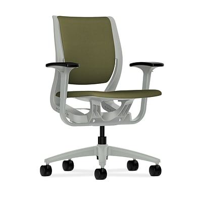 HON® Purpose® Mid-Back Office/Computer Chair, Upholstered, Adjustable Arms, Centurion Olivine