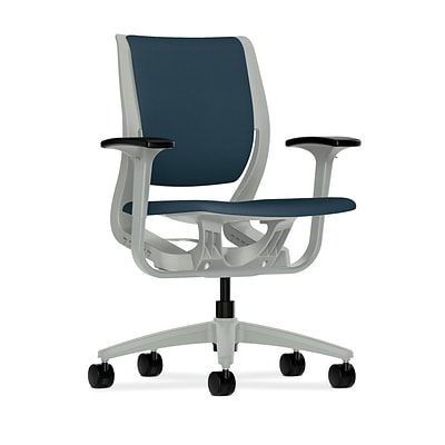 HON® Purpose® Mid-Back Office/Computer Chair, Adjustable Arms, Upholstered, Cerulean