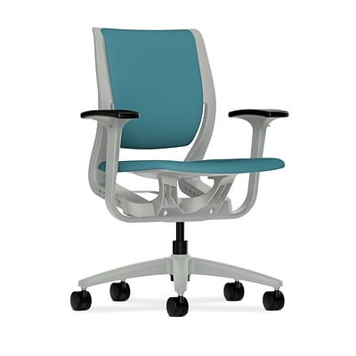 HON® Purpose® Mid-Back Office/Computer Chair, Upholstered, Adjustable Arms, Centurion Glacier