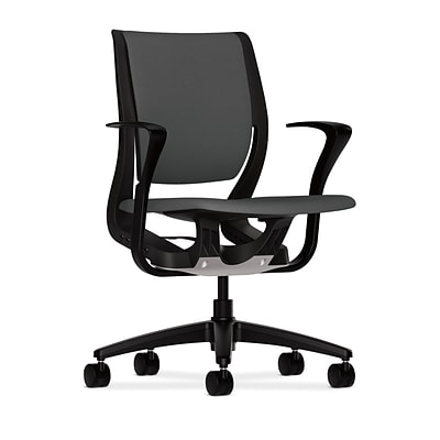 HON® Purpose® Mid-Back Office/Computer Chair, Upholstered, Adjustable Arms, Centurion Iron Ore