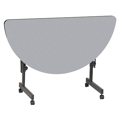 Correll 48-inch Laminate Half-Round Training Table, Gray Granite