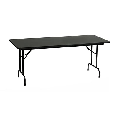 Correll 60-inch Metal, Particle Board & Laminate High Pressure Folding Table, Black Granite