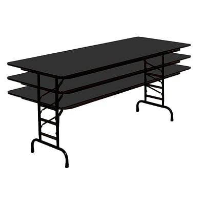 Correll 72-inch Metal, Particle Board & Laminate Adjustable Folding Table, Black Granite