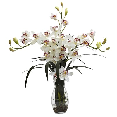 Nearly Natural 1322-WH Triple Cymbidium with Vase Arrangement 29 x 20 inch, White