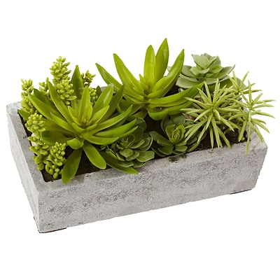 Nearly Natural 4841 Succulent Garden with Concrete Planter 6.5 x 12.8 inch