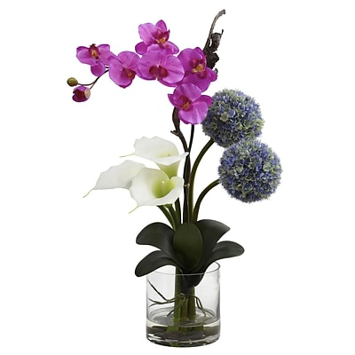 Nearly Natural 1334 Orchid & Ball flower Arrangement 26 x 15 inch, Multi Color