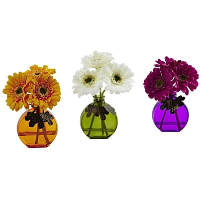 Nearly Natural 4825-S3 Gerber Daisy with Colored Vase 9 x 5.5 inch, Multi Color