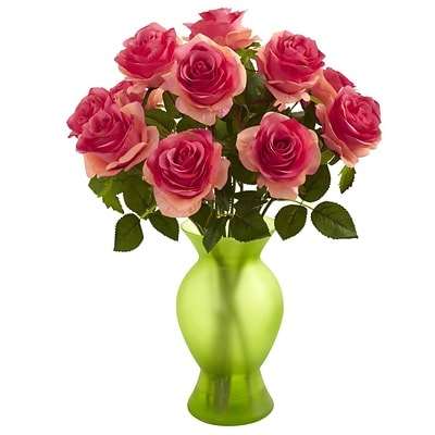 Nearly Natural 1351-DP Roses with Colored Glass Vase, Dark Pink