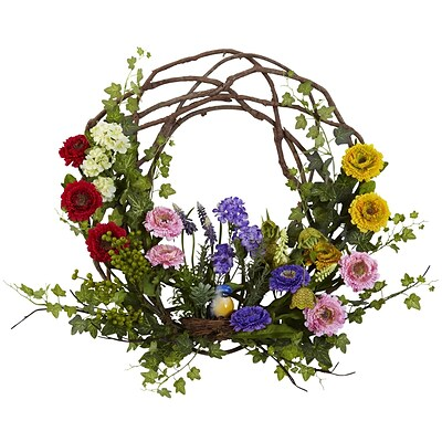Nearly Natural 4988 Spring Floral Wreath 22 inch, Multi Color