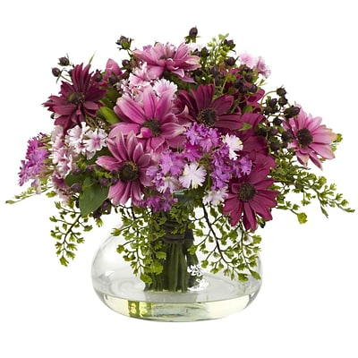 Nearly Natural 1353-PK Large Mixed Daisy Arrangement, Pink