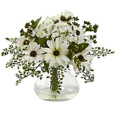 Nearly Natural 1354-WH Mixed Daisy Arrangement with Vase, White