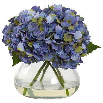 Nearly Natural 1357-BL Large Blooming Hydrangea with Vase, Blue