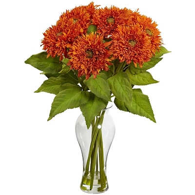 Nearly Natural 1360-OR Sunflower Arrangement, Orange