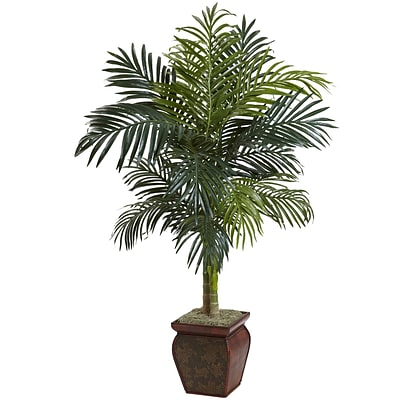 Nearly Natural 5937 Cane Palm with Decorative Container 54 x 40 inch, Multi