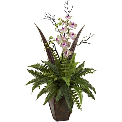 Nearly Natural 1365 Fern & Orchid Arrangement 36 x 20 inch, Green & White