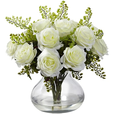 Nearly Natural 1366-WH Rose & Maiden Hair Arrangement With Vase 14 x 14 inch, White