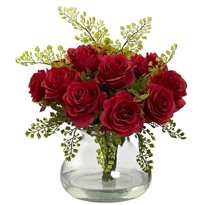 Nearly Natural 1366-RD Rose & Maiden Hair Arrangement With Vase 14 x 14 inch, Red