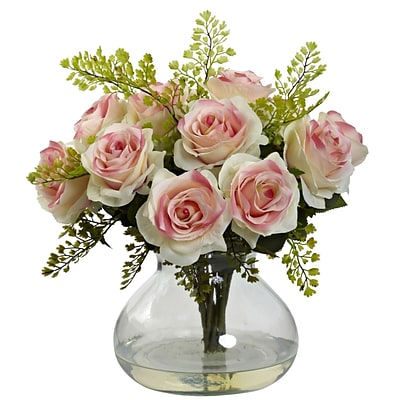 Nearly Natural 1366-LP Rose & Maiden Hair Arrangement With Vase 14 x 14 inch, Light Pink