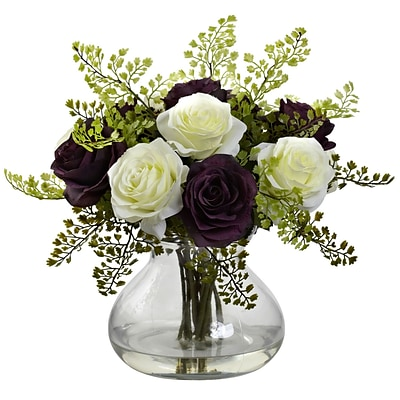 Nearly Natural 1366-PW Rose & Maiden Hair Arrangement With Vase 14 x 14 inch, White & Purple
