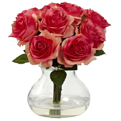 Nearly Natural 1367-DP Rose Arrangement with Vase, Dark Pink