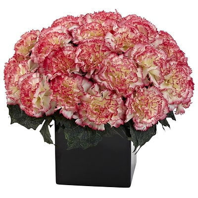 Nearly Natural 1372-CP Carnation Arrangement with Vase, Cream Pink