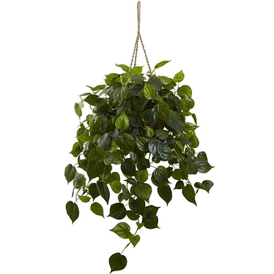 Nearly Natural 6853 Philodendron Hanging Basket 36 x 30 inch, Green