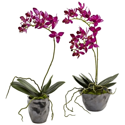 Nearly Natural 4993-S2 Mini Phal with Metallic Vase 13.5 x 6 inch, Purple
