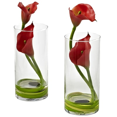 Nearly Natural 1390-RD-S2 Double Calla Lily with Cylinder, Red