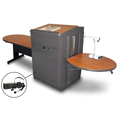 Marvel® 78 Peninsula Table With Lectern, Doors & Headset Mic, Steel, Cherry/Dark Neutral