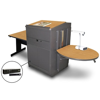 Marvel® 66 Rectangular Table With Lectern, Metal Door & Handheld Mic, Steel, Oak/Dark Neutral