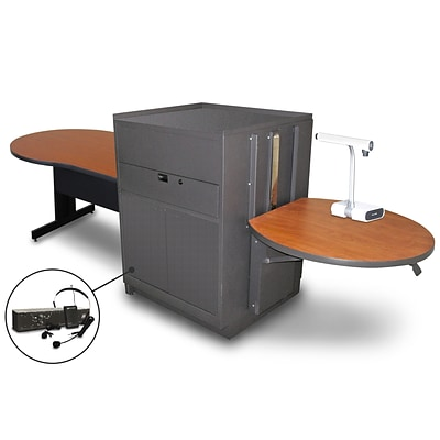Marvel® 78 Keyhole Table With Media Center, Doors & Headset Mic, Steel, Cherry/Dark Neutral