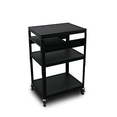 Marvel® 24 Adjustable Height A/V Cart With 1 Pull-Out Front-Shelf & Electrical Unit, Steel, Black