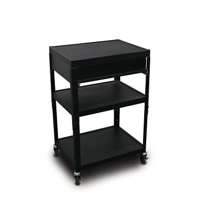 Marvel® 24 Adjustable Height A/V Cart With 1 Pull-Out Side-Shelf, Steel, Black