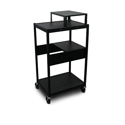 Marvel® 24 Media Projector Cart With 1 Pull-Out Side-Shelf & Electrical, Steel, Black