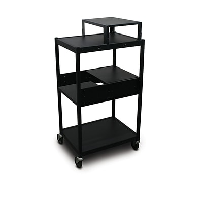Marvel® 24 Media Projector Cart With 2 Pull-Out Side-Shelves & Expansion Shelf, Steel, Black