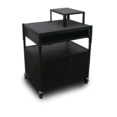 Marvel® 32 Adjustable Media Projector Cart With 1 Pull-Out Front-Shelf, Electrical, Steel, Black