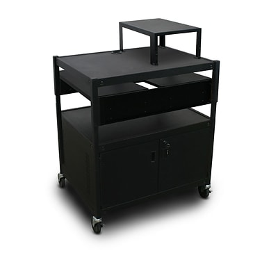 Marvel® 32 Adjustable Media Projector Cart With 2 Pull-Out Side-Shelves, Electrical, Steel, Black