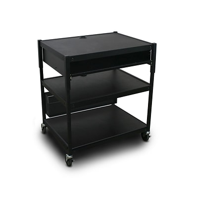 Marvel® 32 Adjustable Media Projector Cart With 1 Pull-Out Front-Shelf & Electrical, Steel, Black (MVBAEE2432-10E)