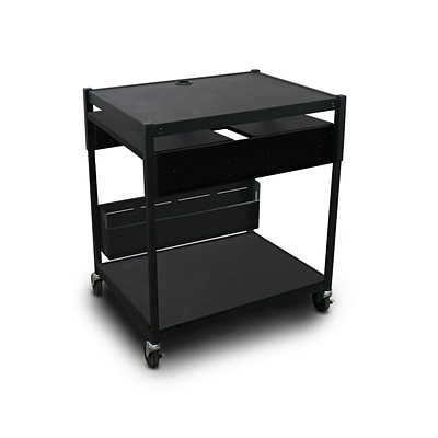 Marvel® 32 Adjustable Media Projector Cart With 2 Pull-Out Side-Shelves & Electrical, Steel, Black (MVBAEE2432-02E)
