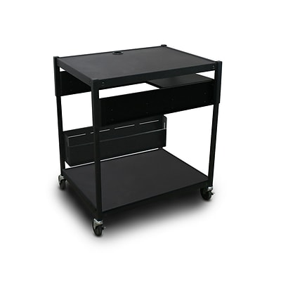 Marvel® 32 Adjustable Media Projector Cart With 1 Pull-Out Side-Shelf & Electrical, Steel, Black