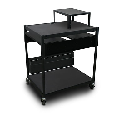Marvel® 32 Adjustable Media Projector Cart With 2 Pull-Out Side-Shelves & Electrical, Steel, Black (MVBAES2432-02E)