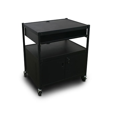 Marvel® 32 Media Projector Cart With 1 Pull-Out Front-Shelf, Cabinet & Bin, Steel, Black