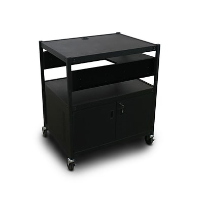 Marvel® 32 Media Projector Cart With 1 Pull-Out Side-Shelf, Cabinet, Bin & Electrical, Steel, Black