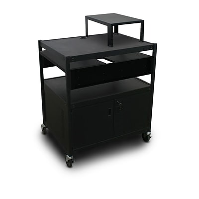 Marvel® 32 Media Projector Cart With 2 Pull-Out Side-Shelves & Expansion Shelf, Steel, Black