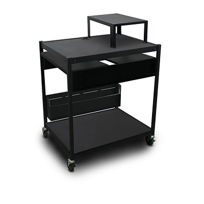 Marvel® 32 Media Projector Cart With 2 Pull-Out Side-Shelves, Expansion Shelf, Steel, Black