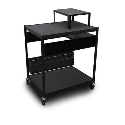 Marvel® 32 Media Projector Cart With 1 Pull-Out Side-Shelf, Expansion Shelf, Steel, Black