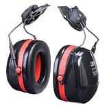 3M™ Optime 105 Earmuffs, eltor Dual Cup Helmet Attachment Hearing Protector, Black/Red, 27dB