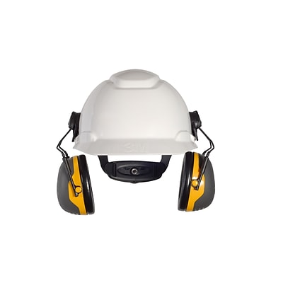 3M Occupational Health & Env Safety X-Series Cap Mount Earmuffs, Black & Yellow