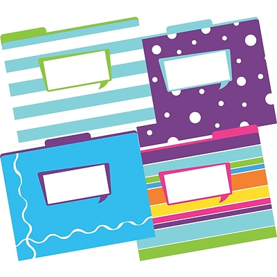 Barker Creek Happy Fashion File Folders, letter size, 1/3 cut, multi-design set, 12/Pack